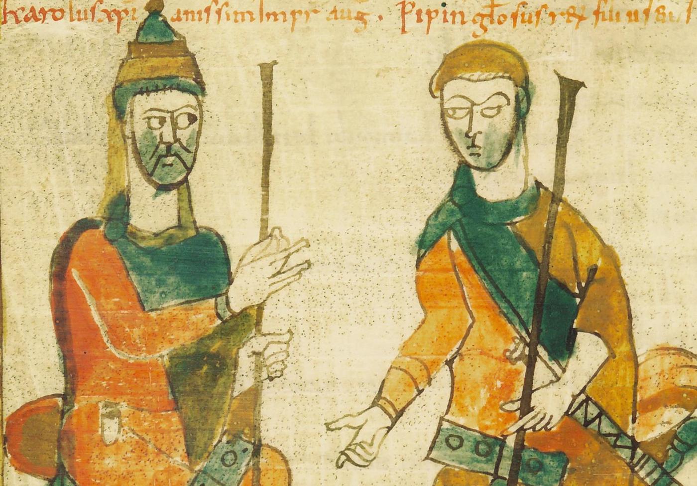 Carlo Magno e il figlio Pipino. Sec. IX (Ms. O.I.2)
